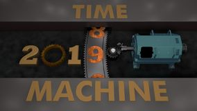 3D illustration of an electric motor that rotates the gear with gears and planetary gear and moves the date 2019. The idea of a ti. Me machine. 3D rendering royalty free illustration