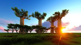 3d illustration of the elephant walking near baobab trees Stock Images