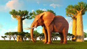 3d illustration of the elephant walking near baobab trees Royalty Free Stock Photos