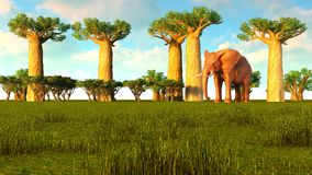 3d illustration of the elephant walking near baobab trees. 3d illustration of the elephant walking near baobabs Royalty Free Stock Photography