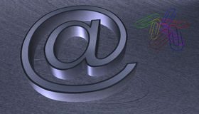 3D Illustration.at email sign brushed metal with black edge. With seven colourful paperclips Royalty Free Stock Image