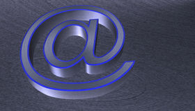 3D Illustration.at email sign brushed metal with blue Stock Image