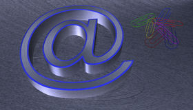 3D Illustration.at email sign brushed metal with blue edge Stock Photos