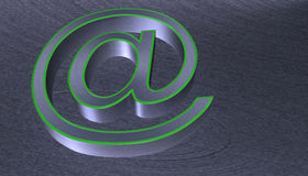 3D Illustration.at email sign brushed metal with green edge Royalty Free Stock Photography