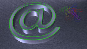 3D Illustration.at email sign brushed metal with green edge. With seven colourful paperclips Stock Photo