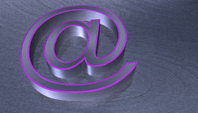 3D Illustration.at email sign brushed metal with pink edge Stock Photography