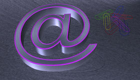 3D Illustration.at email sign brushed metal with purple edge. With seven colourful paperclips Royalty Free Stock Photos