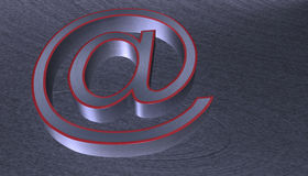 3D Illustration.at email sign brushed metal with red edge Royalty Free Stock Photos