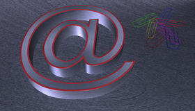 3D Illustration.at email sign brushed metal with red edge. With seven colourful paperclips Stock Images