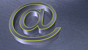 3D Illustration.at email sign brushed metal Stock Image