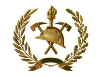 3d illustration. Emblem of firefighters. Golden helmet, axes, torch, olive branches. 3D modeling Stock Photo