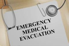 Emergency Medical Evacuation concept. 3D illustration of EMERGENCY MEDICAL EVACUATION title on a medical document stock illustration