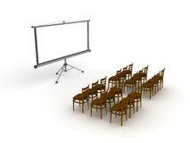 3D illustration of empty meeting room with projector screen. Isolated on white Stock Photography