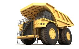 3d illustration. Empty mining dump truck tipper big heavy yellow. Car. Bottom view. Front side view. Direction from right to left Royalty Free Stock Photos