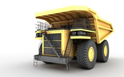 3d illustration. Empty mining dump truck tipper big heavy yellow. Car. Front side view. Direction from right to left Stock Photography