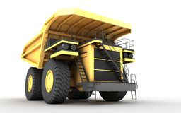 3d illustration. Empty mining dump truck tipper big heavy yellow. Car. Bottom view. Front side view. Direction from left to right Royalty Free Stock Images