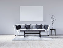 3d illustration empty white interior with sofa, empty wall, minimalist living room, black and gray pillows, light sofa, fluffy car. Pet, table with book and cup Royalty Free Stock Images