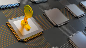 3d illustration of encoded chip and many others Stock Image