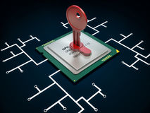 3d illustration of encoded chip and many others Stock Images