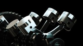 3d illustration of engine. Motor parts as crankshaft, pistons, gears royalty free stock photos