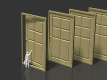 3D illustration of entrance. 3D illustration of open the door Stock Photo