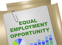Equal Employment Opportunity concept. 3D illustration of EQUAL EMPLOYMENT OPPORTUNITY title on business document Royalty Free Stock Photography