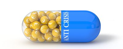 3d illustration of euro pill. Stock Photo