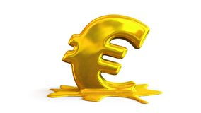 3D illustration of euro symbol melting Stock Images