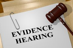 EVIDENCE HEARING concept. 3D illustration of EVIDENCE HEARING title on legal document Stock Images