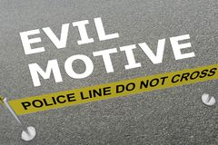 EVIL MOTIVE concept. 3D illustration of EVIL MOTIVE title on the ground in a police arena Royalty Free Stock Images