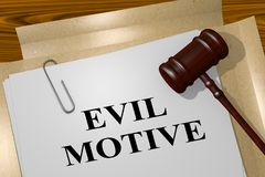 EVIL MOTIVE concept. 3D illustration of EVIL MOTIVE title on legal document Stock Images