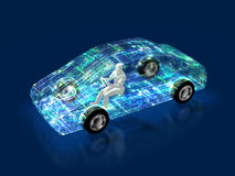 3D illustration of evolution of automobiles Royalty Free Stock Image