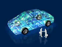 3D illustration of evolution of automobiles Royalty Free Stock Photography