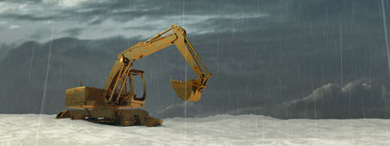 3d illustration of excavator. On a terrain Stock Photo