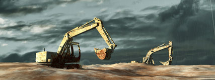 3d illustration of excavator. On a terrain Royalty Free Stock Photos