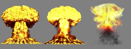 3D illustration of explosion - 3 big highly detailed different phases mushroom cloud explosion of thermonuclear bomb with smoke royalty free stock photography