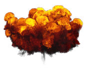 3D illustration of explosion fire cloud. On white background Royalty Free Stock Photography