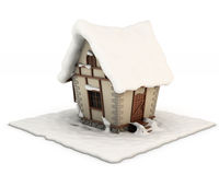 3d illustration fabulous house in the snow. On a white background Stock Image