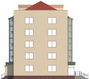 3D illustration of a facade of an inhabited apartment house in beige color Stock Images