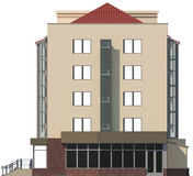 3D illustration of a facade of an inhabited apartment house in beige color Royalty Free Stock Photography