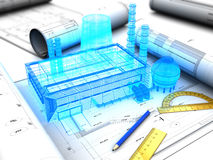 Factory design. 3d illustration of factory design concept Royalty Free Stock Photography