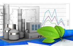 3d. Illustration of factory with drawings over business graph background Royalty Free Stock Photo