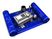 Factory blueprints Stock Images