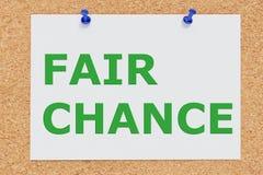 FAIR CHANCE concept. 3D illustration of FAIR CHANCE on cork board royalty free illustration