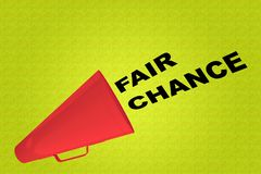 FAIR CHANCE concept. 3D illustration of FAIR CHANCE title flowing from a loudspeaker royalty free illustration