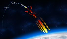 3D illustration of the fall of the China`s Tiangong-1 space station on the planet Earth. Infographic of how the Chinese space station is disintegrating. 3D Royalty Free Stock Photography