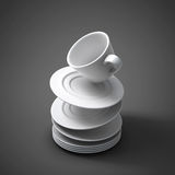 3d illustration falling cups and saucers. On grey background. 3d render image Vector Illustration