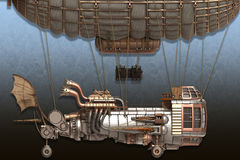 3d illustration of a fantasy airship in steampunk style. 3d illustration of a fantasy airship in steampunk Stock Photo