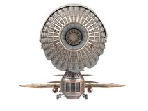 3d illustration of a fantasy airship in steampunk style on isolated white background. 3d illustration of a fantasy airship in steampunk style Stock Photos