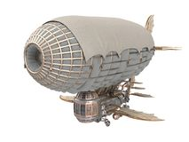 3d illustration of a fantasy airship in steampunk style on isolated white background. 3d illustration of a fantasy airship in steampunk style Stock Image